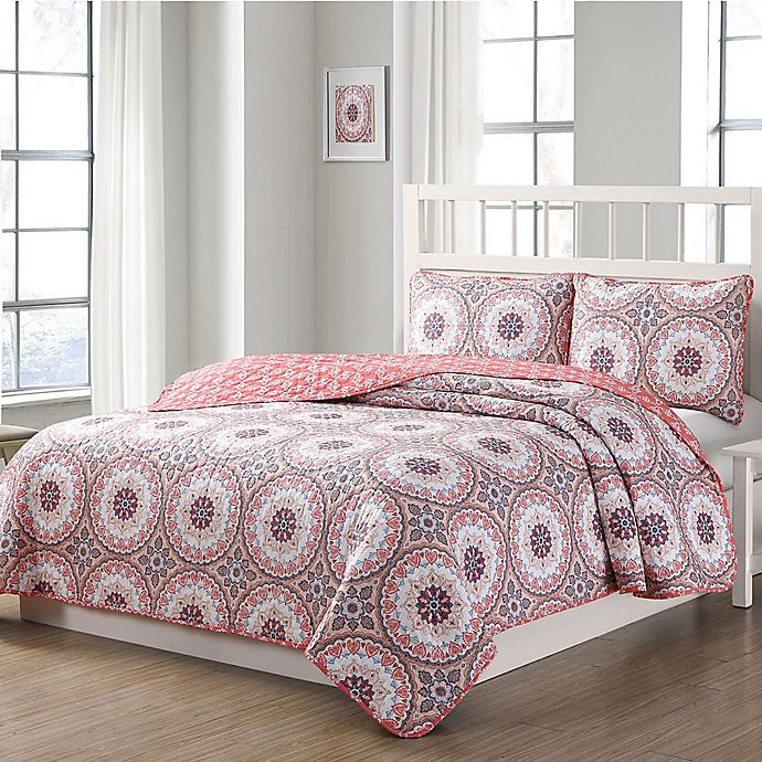 Alternate image 1 for Quaint Home Darma Reversible Quilt Set in Pink