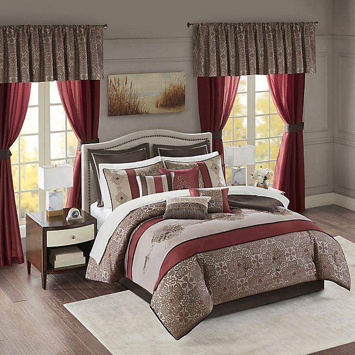 Alternate image 1 for Madison Park Essentials Delaney 24-Piece Queen Comforter Set in Red