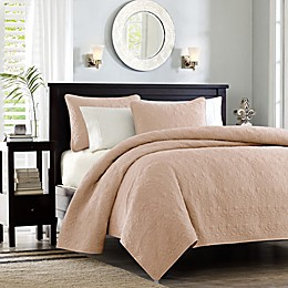 Madison Park Quebec 3-Piece Reversible Coverlet Set in Blush