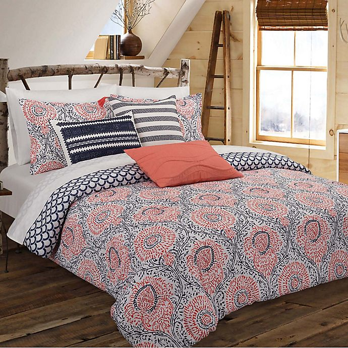 Alternate image 1 for Nouvelle Home Floral Block Reversible Full/Queen Comforter Set in Navy