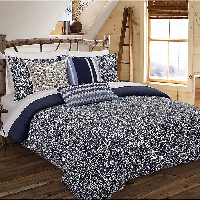 Alternate image 1 for Nouvelle Home Cutwork Medallion Reversible Full/Queen Comforter Set in Indigo