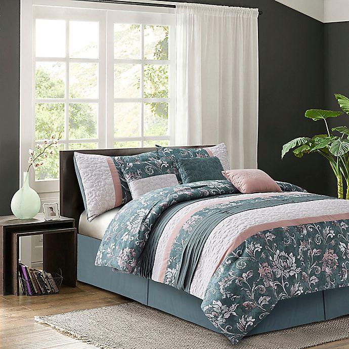 Alternate image 1 for R2Zen Harlow 7-Piece Reversible Queen Comforter Set in Blush
