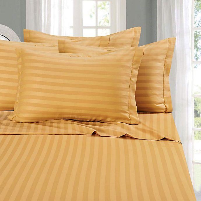 Alternate image 1 for Elegant Comfort Wrinkle-Resistant Stripe California King Sheet Sheet in Camel/Gold