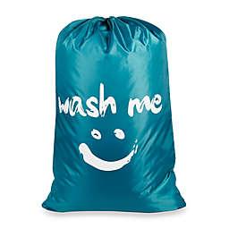 """Wash Me"" Novelty Laundry Bag in Blue"