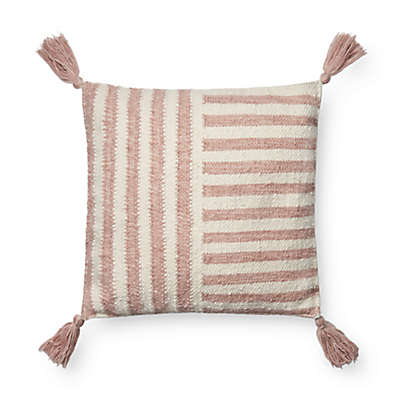Magnolia Home by Joanna Gaines Courtney Square Throw Pillow in Blush/Ivory