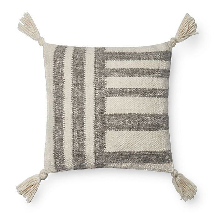 Alternate image 1 for Magnolia Home by Joanna Gaines Miranda Square Throw Pillow in Grey/Ivory