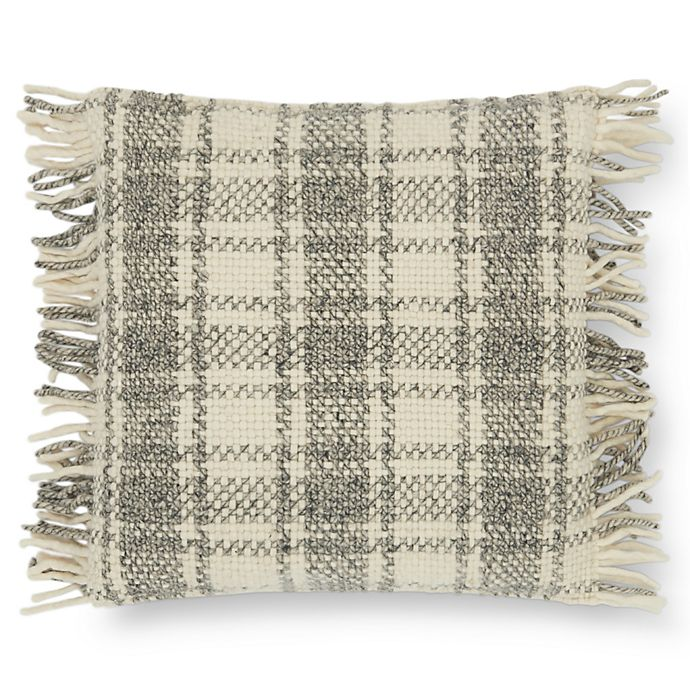 Alternate image 1 for Magnolia Home by Joanna Gaines Alena Square Throw Pillow in Grey/Ivory