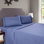 Nottingham Home Embroidered Brushed Microfiber Queen Sheet Set in Blue