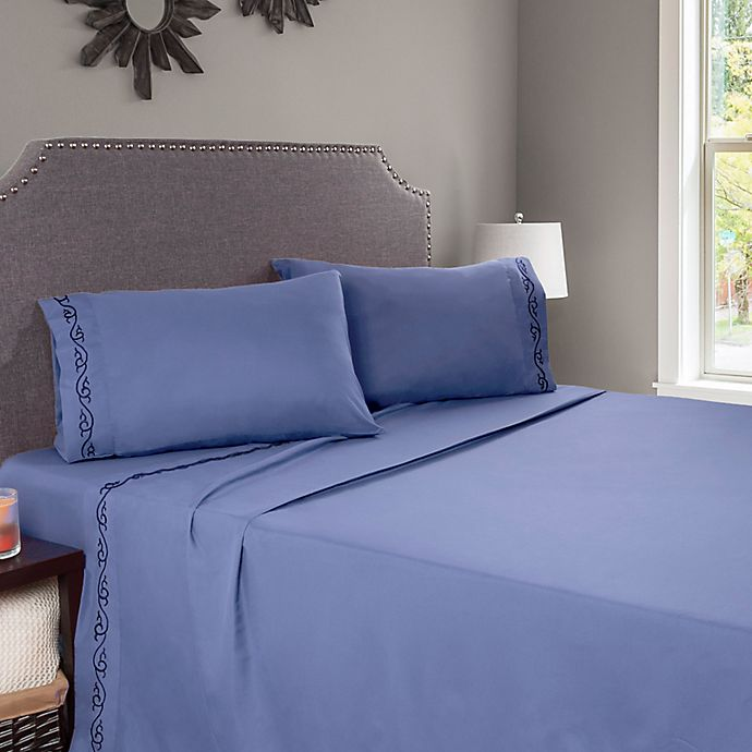 Alternate image 1 for Nottingham Home Embroidered Brushed Microfiber Twin Sheet Set in Blue