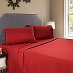 Nottingham Home Embroidered Brushed Microfiber Queen Sheet Set in Burgundy