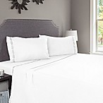 Nottingham Home Embroidered Brushed Microfiber Queen Sheet Set in White
