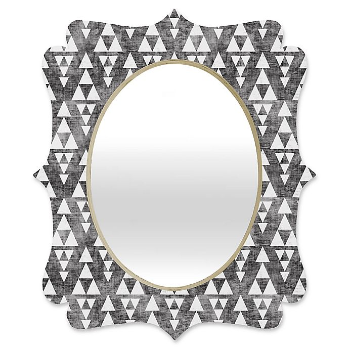 Alternate image 1 for Deny Designs® Holli Zollinger 29-Inch x 22-Inch Oval Stacked Quatrefoil Mirror in Grey/White