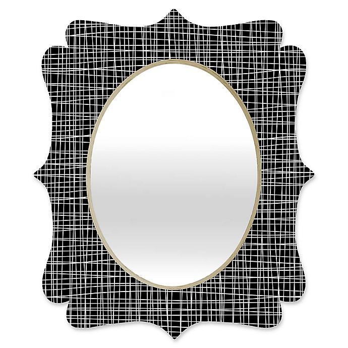 Alternate image 1 for Deny Designs® Caroline Okun 29-Inch x 22-Inch Oval Obsidian Quatrefoil Mirror in Black/White