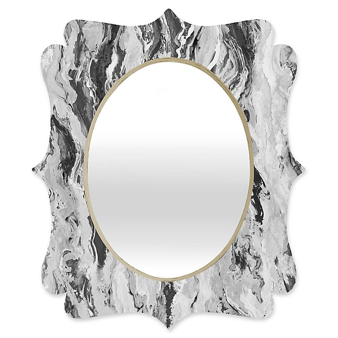 Alternate image 1 for Deny Designs® Lisa Argyropoulos 29-Inch x 22-Inch Oval Mono Melt Mirror in Black/White