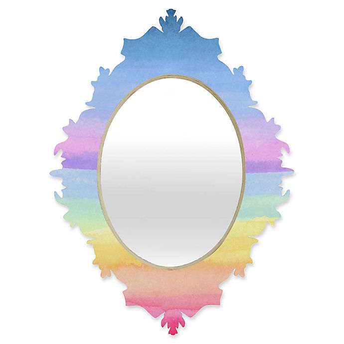 Alternate image 1 for Deny Designs® Joy Laforme 29-Inch x 22-Inch Oval Baroque Mirror in Rainbow Ombre