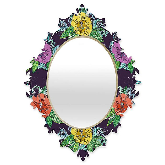 Alternate image 1 for Deny Designs® Sharon Turner 29-Inch x 22-Inch Oval Hibiscus Surf Baroque Mirror in Grape