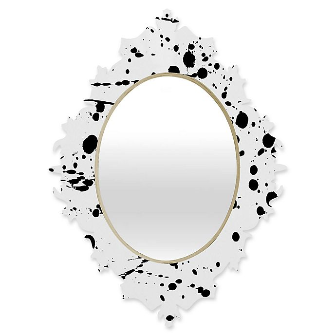 Alternate image 1 for Deny Designs® Natalia Baca 29-Inch x 22-Inch Oval Paint Play 3 Baroque Mirror in Black/White
