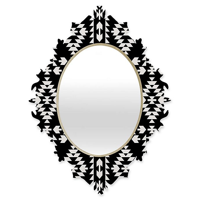 Alternate image 1 for Deny Designs® Holli Zollinger 29-Inch x 22-Inch Oval Geo Panel Baroque Mirror in Black/White
