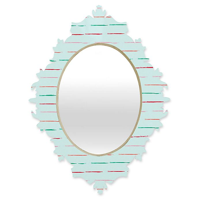 Alternate image 1 for Deny Designs® Hello Twiggs 29-Inch x 22-Inch Oval Summer Stripes Baroque Mirror