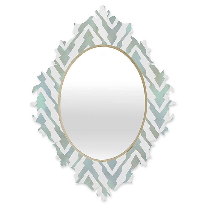 Alternate image 1 for Deny Designs® Georgiana Paraschiv 29-Inch x 22-Inch Oval Pastel Zigzag Baroque Mirror in Mint