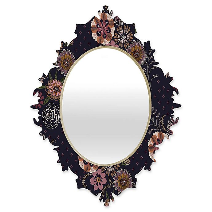 Alternate image 1 for Deny Designs® Pimlada Phuapradit 29-Inch x 22-Inch Oval Navy Bouquet Baroque Mirror
