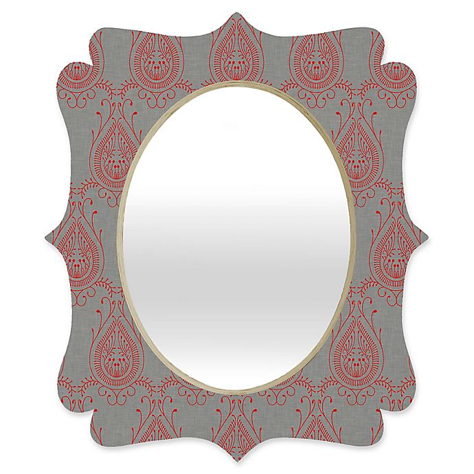 Alternate image 1 for Deny Designs® Holli Zollinger 29-Inch x 22-Inch Oval Jaipur Paisley  Mirror in Red/Grey