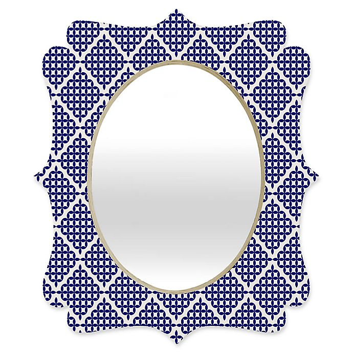Alternate image 1 for Deny Designs® Holli Zollinger 19-Inch x 14-Inch Oval Nautical Knots Quatrefoil Mirror in Blue