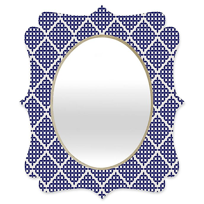 Alternate image 1 for Deny Designs® Holli Zollinger 29-Inch x 22-Inch Oval Nautical Knots Quatrefoil Mirror in Blue