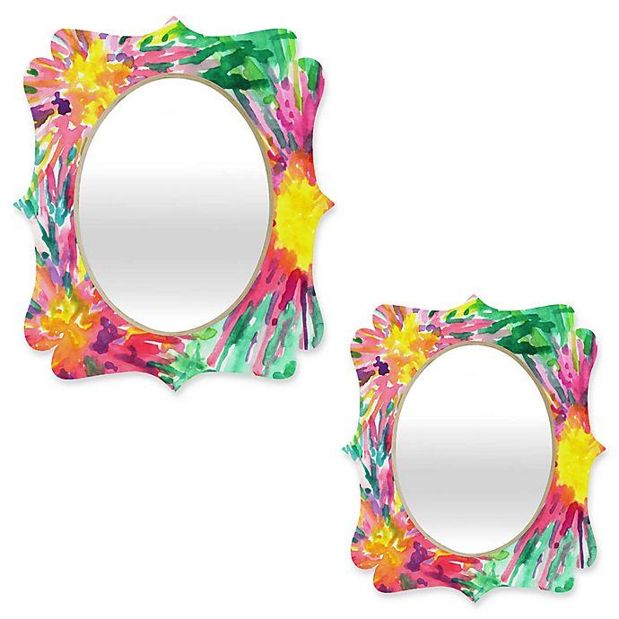 Alternate image 1 for Deny Designs® Joy Laforme Oval Floral Confetti Quatrefoil Mirror