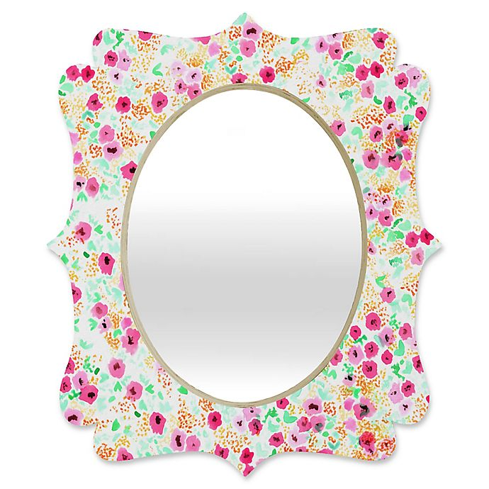 Alternate image 1 for Deny Designs® Joy Laforme 29-Inch x 22-Inch Oval Sun Faded Floral Quatrefoil Mirror in Pink