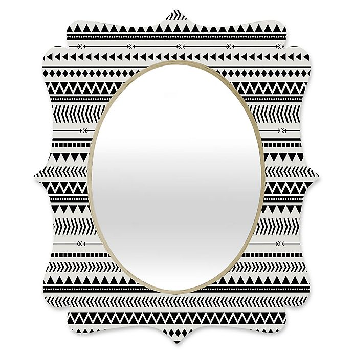 Alternate image 1 for Deny Designs® Allyson Johnson 29-Inch x 22-Inch Oval Aztec Quatrefoil Mirror in Black/White