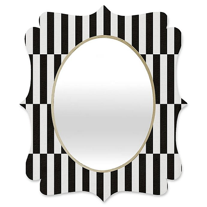 Alternate image 1 for Deny Designs® Bianca Green 29-Inch x 22-Inch Oval Order Quatrefoil Mirror in Black/White