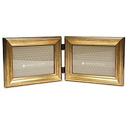 Burnished 6-Inch x 4-Inch Double Picture Frame in Gold
