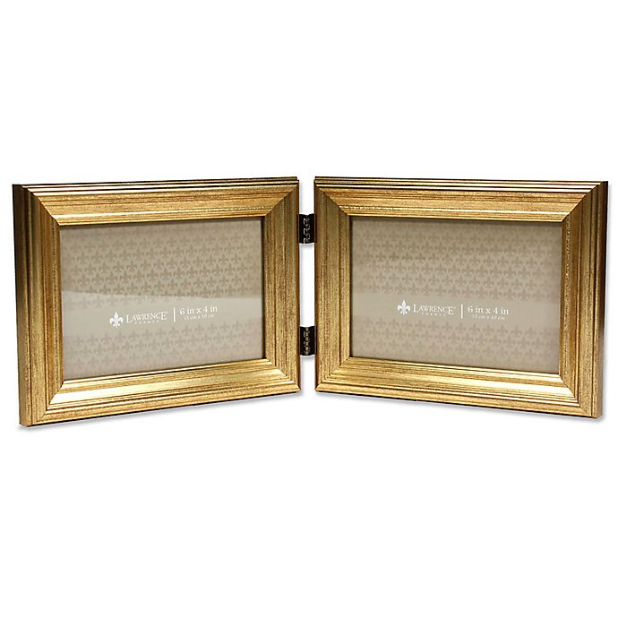 Alternate image 1 for Burnished 6-Inch x 4-Inch Double Picture Frame in Gold