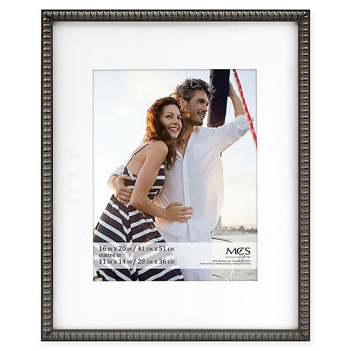 Alternate image 1 for MCS Thin Bead 11-Inch x 14-Inch Matted Frame in Pewter