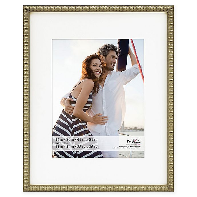 Alternate image 1 for MCS Thin Bead 11-Inch x 14-Inch Matted Frame in Champagne