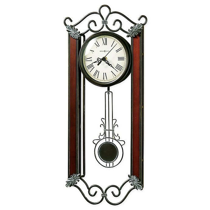 Alternate image 1 for Howard Miller Carmen 9.25-Inch Pendulum Wall Clock in Wrought Iron and Windsor Cherry Wood