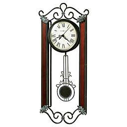 Howard Miller Carmen 9.25-Inch Pendulum Wall Clock in Wrought Iron and Windsor Cherry Wood