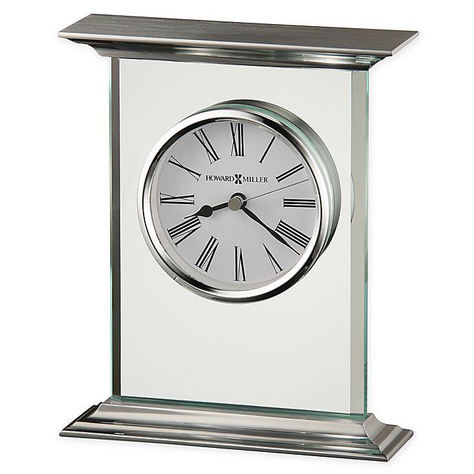 Alternate image 1 for Howard Miller Clifton Table Clock in Silver/Glass