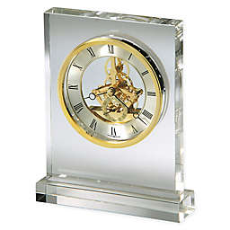 Howard Miller Prestige Glass and Brass Tabletop Clock