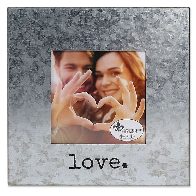 Alternate image 1 for Lawrence Frames 4-Inch x 4-Inch Galvanized Metal Love Frame in Silver
