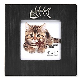 Lawrence Frames 4-Inch x 4-Inch Cat Frame in Black with Fish Bone Ornament