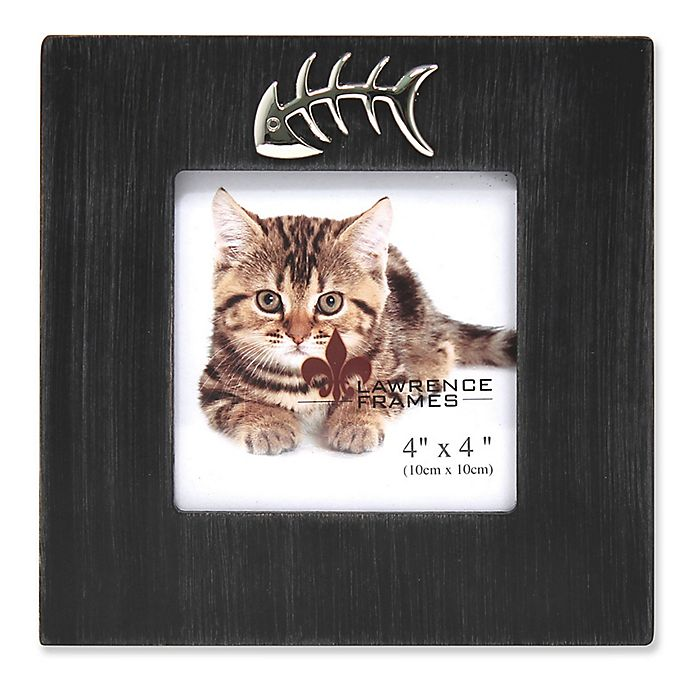 Alternate image 1 for Lawrence Frames 4-Inch x 4-Inch Cat Frame in Black with Fish Bone Ornament
