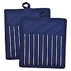 Design Imports Chef Stripe Pot Holder in Blue (Set of 2)