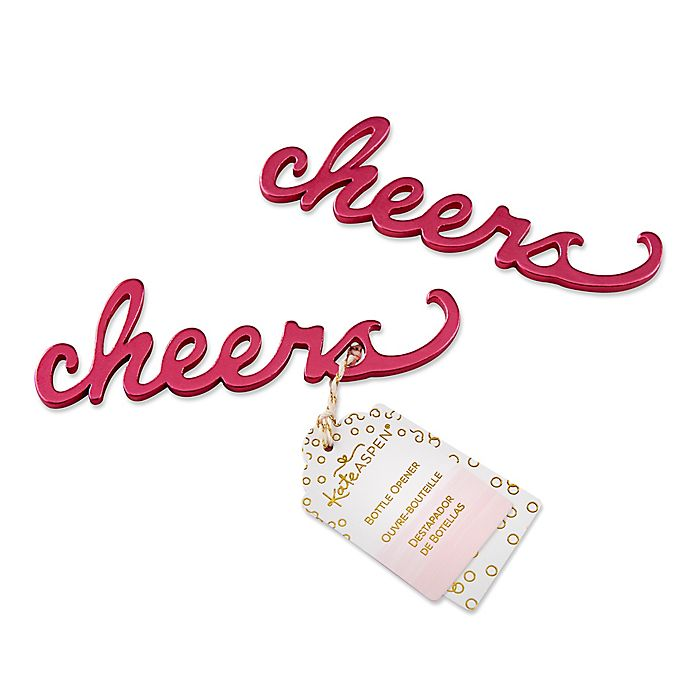 Alternate image 1 for Kate Aspen® Cheers Bottle Openers in Pink (Set of 6)