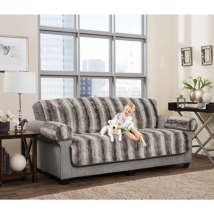 Alternate image 1 for Smart Fit 3-Piece Ombre Faux Fur Sofa Cover in Grey