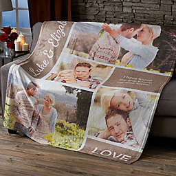 Romantic Love Photo Collage 50-Inch x 60-Inch Fleece Blanket