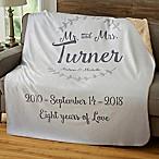 """Mr. & Mrs."" Wedding & Anniversary 60-Inch x 80-Inch Sherpa Blanket"