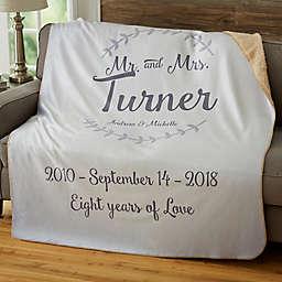 """Mr. & Mrs."" Wedding & Anniversary Sherpa Blanket"