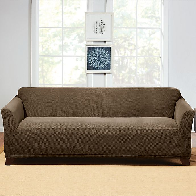 Alternate image 1 for Sure Fit® Hudson Stretch Sofa Slipcover in Taupe